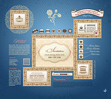Vector calligraphic vintage frames and design elements grunge ba