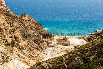 Beach near abandoned sulphur mines, Milos island, Cyclades, Greece