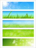 Natural Sunny Backgroundc Banner Vector Illustration