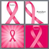 Breast Cancer Awareness Pink Ribbon Background Collection Set Ve