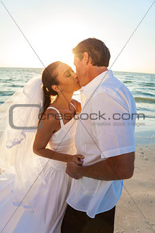 Bride & Groom Kissing Couple Sunset Beach Wedding