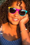 Happy Mixed Race African American Girl Child Sunglasses