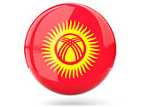 Round icon with flag of kyrgyzstan
