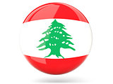 Round icon with flag of lebanon