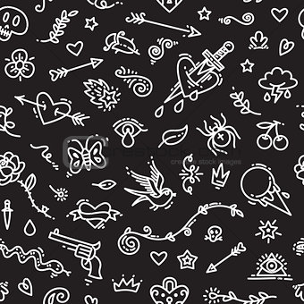 Old School Tattoo Seamless Pattern on Dark