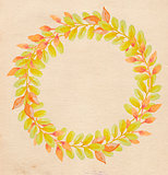 Round frame with autumn leaves