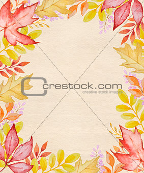 Watercolor autumn frame