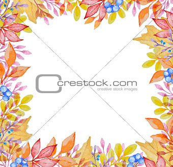Watercolor frame with autumn leaves