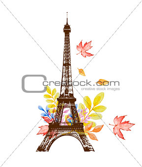 Watercolor leaves and Eiffel Tower