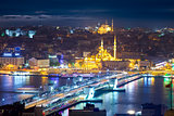 Panorama of the famous places of Istanbul at night