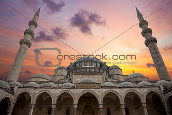 Amazing Sunrise over Blue Mosque, beautiful sky and architecture
