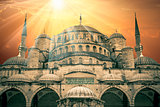 Fantastic view of Blue Mosque with sun and amazing sunbeams