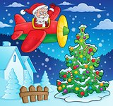 Christmas theme Santa Claus in plane