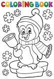 Coloring book Christmas penguin topic 1