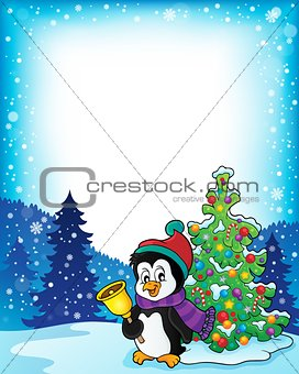 Frame with penguin and Christmas tree