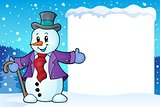 Frame with snowman topic 2