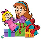 Girl with doll and gifts theme 1