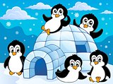 Igloo with penguins theme 1