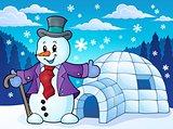 Igloo with snowman theme 1