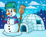 Igloo with snowman theme 2