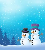 Winter snowmen thematics image 2