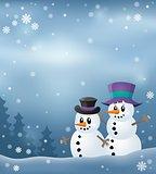 Winter snowmen thematics image 3