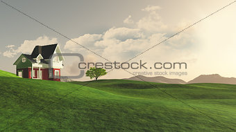 3D house in countryside