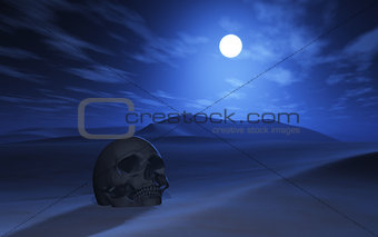 3D skull in a desert at night