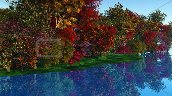 3D colourful trees against a riverside