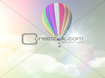 3D hot air balloon in the sky with retro effect