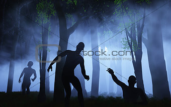 3D zombies in spooky foggy forest
