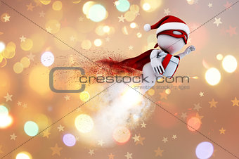 3D Santa superhero on a Christmas background