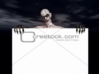 3D zombie holding a blank sign