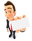3d businessman holds business card