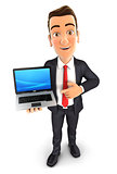 3d businessman laptop