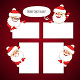 Set of Cartoon Santa Clauses Behind a White Empty Sheet