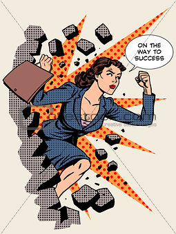 Business success businesswoman breaks the wall