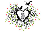 heart shaped bird nest, vector