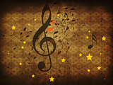 Vintage music floral background
