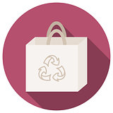 Trendy round eco recycle bag icon with long shadow