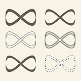Set of limitless icons, infinity symbol