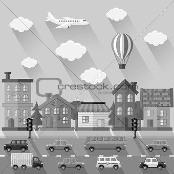 City landscape. Flat design. Vector illustration.