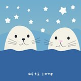 Cute seals cartoon vector illustration