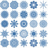 Set of twenty five blue snowflakes