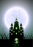 Halloween Illustration Full Moon and Haunted Castle