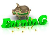 EARNING AND PIGGY - bright green letters and money