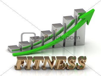 FITNESS- inscription of gold letters and Graphic growth