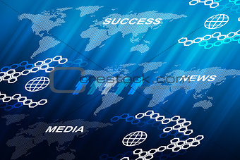 Abstract blue background with business words