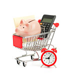 Piggy bank, calculator in shopping cart