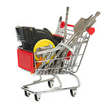Tape measure with drills in shopping cart